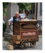 Street Entertainer In Bruges Belgium Fleece Blanket
