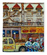 Street Hockey Pointe St Charles Winter  Hockey Scene Paul's Restaurant Quebec Art Carole Spandau     Fleece Blanket