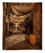 Street In Gothic District Of Barcelona At Night Fleece Blanket