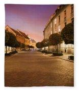 Street In Ostrow Tumski By Night In Wroclaw Fleece Blanket
