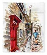 Street In Robin Hoods Bay 01 Fleece Blanket