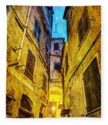 Street In Vernazza - Vintage Version Fleece Blanket