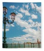 Street Lamp At Venice, Italy Fleece Blanket