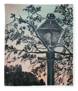 Street Lamp Historic Vintage Art Print Fleece Blanket