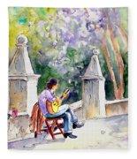 Street Musician In Pollenca Fleece Blanket