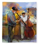 Street Musicians In Prague In The Czech Republic 01 Fleece Blanket