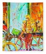 Street Of Amsterdam - Four Girls Fleece Blanket