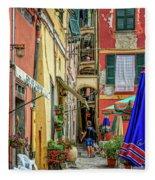 Street Scene Vernazza Italy Dsc02651 Fleece Blanket