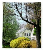 Street With Forsythia Fleece Blanket