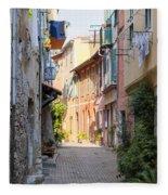 Street With Sunshine In Villefranche-sur-mer Fleece Blanket