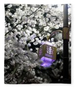 Streetlights In Blossoms Fleece Blanket