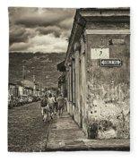 Streets Of Antigua - Guatemala Fleece Blanket