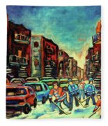 Streetscenes Of Montreal Hockey Paintings By Montreal Cityscene Specialist Carole Spandau Fleece Blanket