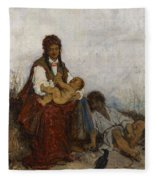 Streitt, Franciszek 1839 Brody - 1890  Rest On The Field. 1875. Fleece Blanket