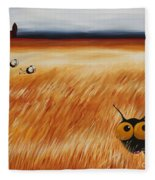 Stressie Cat And Crows In The Hay Fields Fleece Blanket