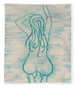 Stretching Lady Fleece Blanket