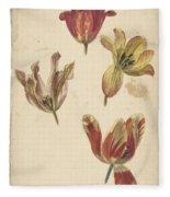 Studies Of Four Tulips, Elias Van Nijmegen, C. 1700 - C. 1725 Fleece Blanket