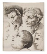 Studies Of Heads Anonimo, Blooteling Abraham Fleece Blanket