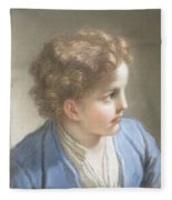 Study Of A Boy In A Blue Jacket , Benedetto Luti Italian, Florence 1666-1724 Rome Fleece Blanket