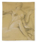 Study Of A Female Figure Seated On Clouds Fleece Blanket