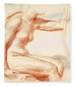 Study Of A Female Nude Seated Fleece Blanket