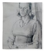 Study Of A Seated Girl. Fleece Blanket