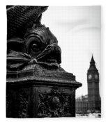 Sturgeon Lamp Post With Big Ben London Black And White Fleece Blanket