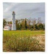 Sturgeon Point Ligthouse Lake Huron, Lower Peninsula, Mi Fleece Blanket