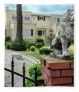 Suburban Antique House With Lion Hayward California 22 Fleece Blanket