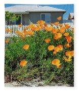 Suburban House On Orchard Avenue With Poppies Hayward California 3 Fleece Blanket
