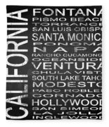 Subway California State 5 Square Fleece Blanket