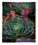 Succulent Flowers Fleece Blanket