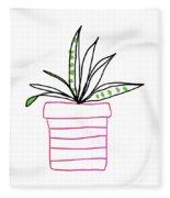 Succulent In A Pink Pot- Art By Linda Woods Fleece Blanket