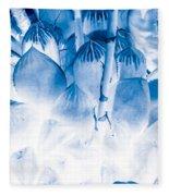 Succulents In Bleu Fleece Blanket