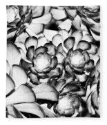 Succulents Monochrome Fleece Blanket
