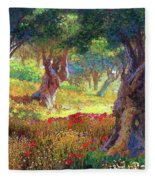 Tranquil Grove Of Poppies And Olive Trees Fleece Blanket