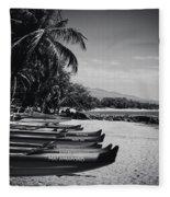 Sugar Beach Hawaiian Outrigger Canoes Kihei Maui Hawaii  Fleece Blanket