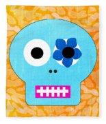 Sugar Skull Blue And Orange Fleece Blanket