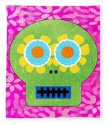 Sugar Skull Green And Pink Fleece Blanket