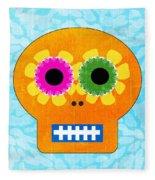Sugar Skull Orange And Blue Fleece Blanket