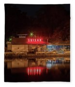 Suisan Fish Market At Night Fleece Blanket