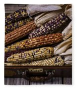 Suitcase Full Of Indian Corn Fleece Blanket