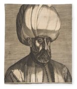 Suleyman The Magnificent , Engraved By Melchior Lorck Fleece Blanket
