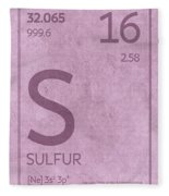 Sulfur Element Symbol Periodic Table Series 016 Fleece Blanket