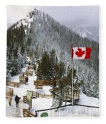 Sulphur Mountain In Banff National Park In The Canadian Rocky Mountains Fleece Blanket