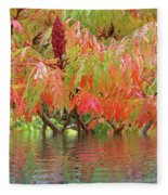 Sumac Tree Autumn Reflections Fleece Blanket