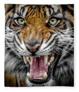 Sumatran Tiger Snarl Fleece Blanket
