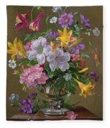 Summer Arrangement In A Glass Vase Fleece Blanket