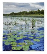 Summer Blue  Lake Under Clody Grey Sky With Forest On Coast Fleece Blanket