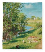 Summer Day By The Stream Fleece Blanket